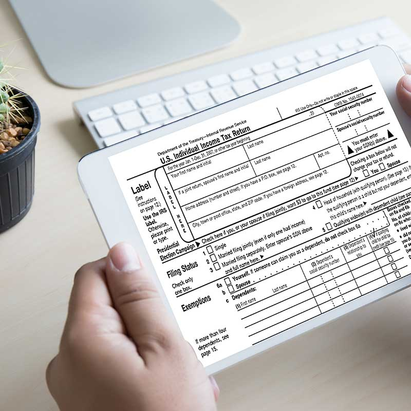 person reviewing tax return